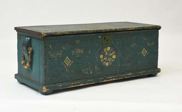"Early 19th C. carved and painted ship captain's sea chest with good becket handles, 46""L. x 19""H."