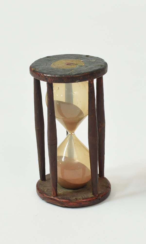 """Choice 19th C. paint decorated wooden hour glass, 6.75""""H."""