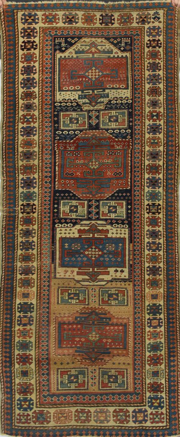 "19th C. Oriental hall rug, 3'2"" x 7'11"""