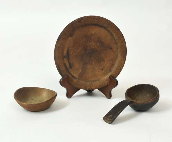 """Three early pieces of wooden-ware - ex. R. Bacon collection 7.25""""D. plate, 4"""" bowl, 6.5"""" scoop"""