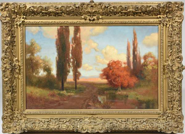 """Oil on canvas, autumn landscape signed R. Atkinson Fox, 20"""" x 32"""" in a period frame"""