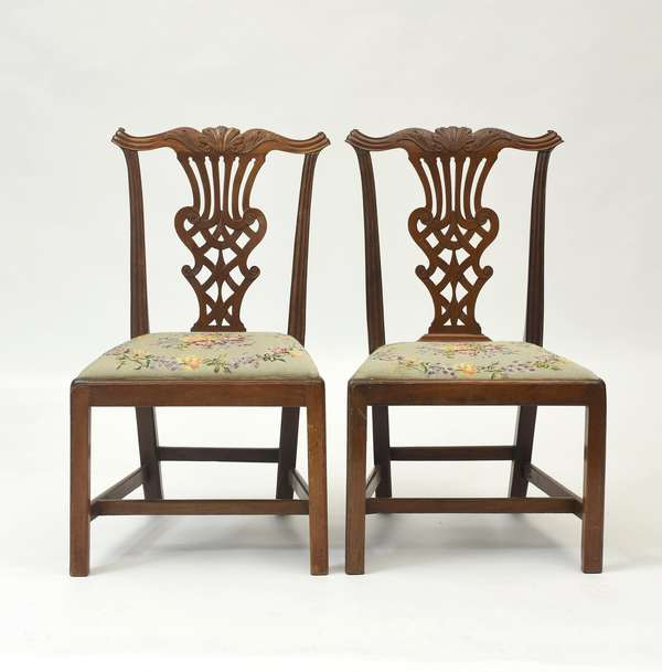 """Pair of 18th C. Chippendale mahogany side chairs carved shell crest, ca.1780, 37""""H. x seat height 17"""""""
