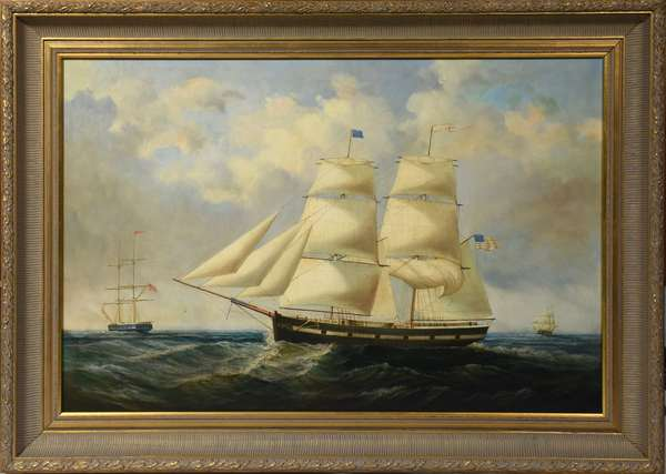 Oil on canvas, sailing ship, signed D. Taylor, 24