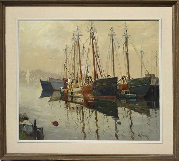 Oil on canvas, boats in harbor signed Otis Cook, 25