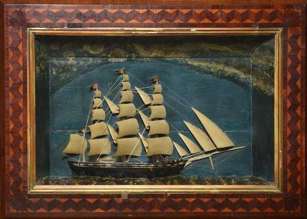 "19th C. ships diorama, good inlaid frame, 25"" x 35"""