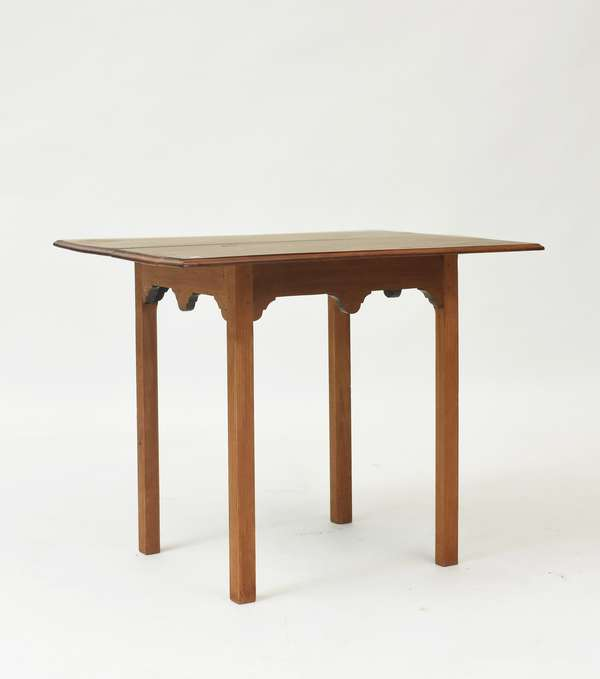 """18th C. Rhode Island mahogany Chippendale tea table with stop fluted legs, 27.5""""H. x 33""""L. top"""