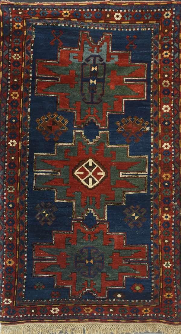 Antique Oriental hall rug, 4'3