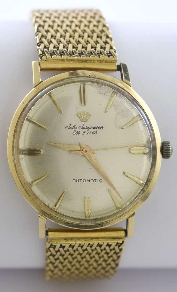 Gents 14k yellow gold Jules Jurgensen automatic wrist watch, 33 mm, monogram R.E.L., 8
