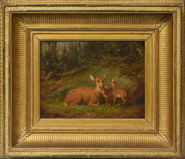 Oil on canvas, doe with her fawn, signed A.F. Tait, 7