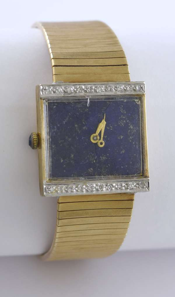 "14k yellow gold blue lapis square face wrist watch with diamond accents, approx. .30 ctw single cut diamonds, marked AEZEI, 7.75"", 49 grams"