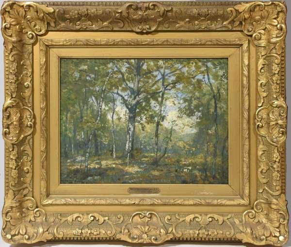 Oil on board, summer landscape signed H.W. Ranger (Henry Ward Ranger),