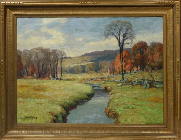 Oil on canvas, autumn landscape signed J.J. LaValley, 22