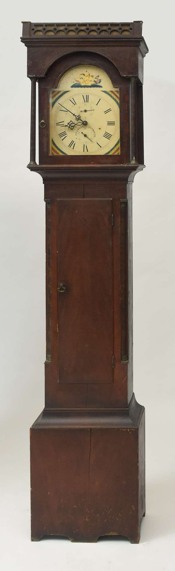 Early 19th C. Silas Hoadley Plymouth Grandfather clock with painted case, 86
