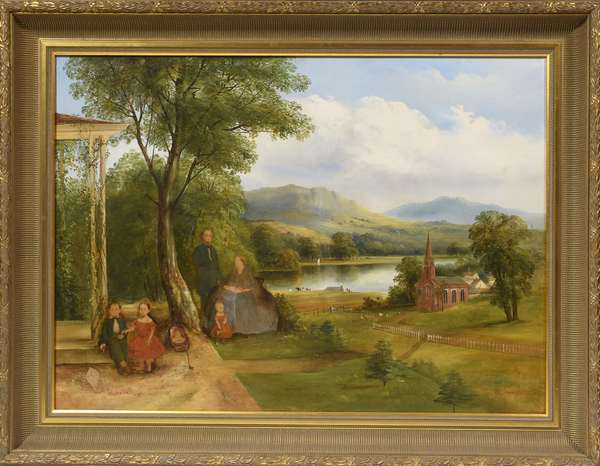 19th C. American school landscape oil with family chromolithographically applied, 26