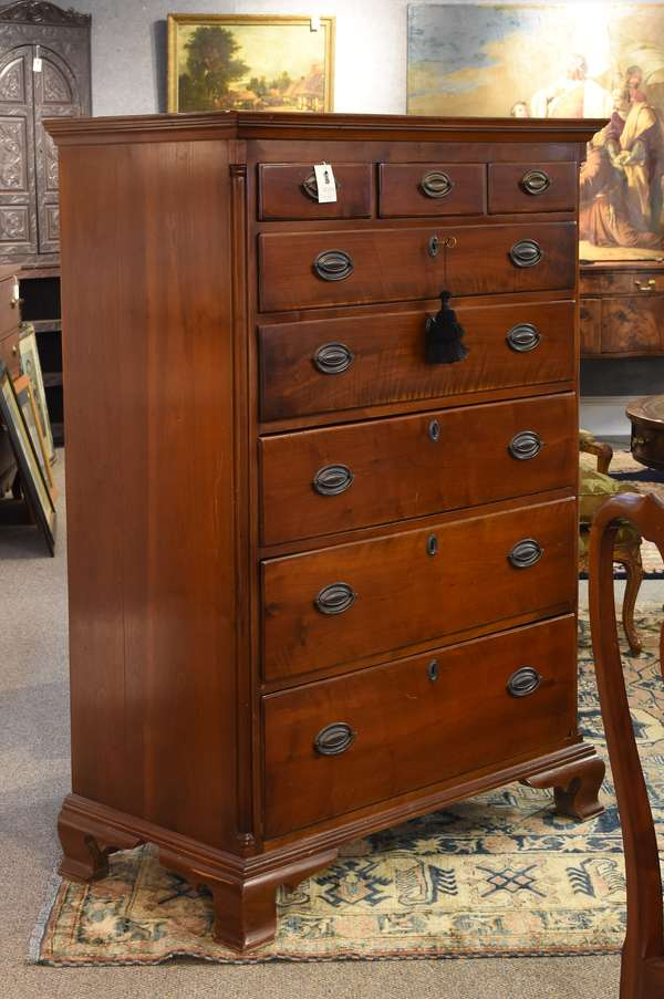 """Fine Chippendale walnut PA tall chest with quarter columns and ogee feet, ca.1785, 61""""H. x 38.5""""W."""