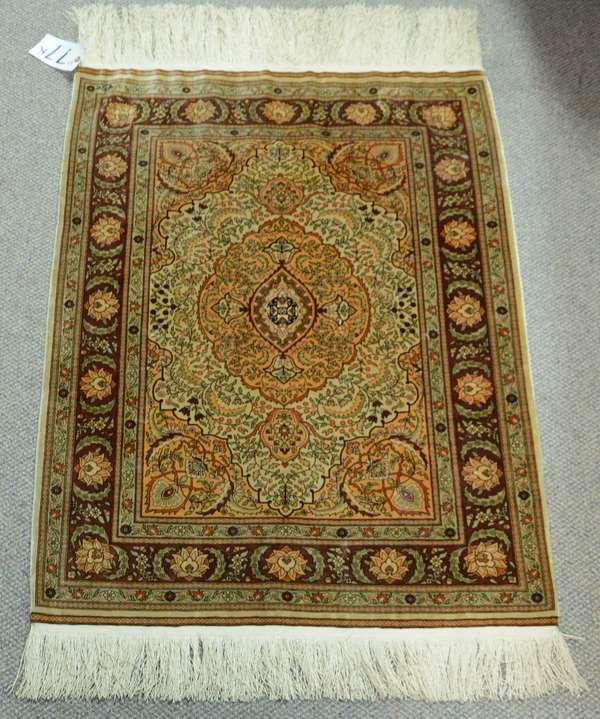 "Small Oriental silk carpet, 3'8"" x 2'8"""
