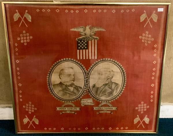 """Grover Cleveland and Allen G. Thurman campaign handkerchief, ca. 1888, 21"""" x 22"""""""
