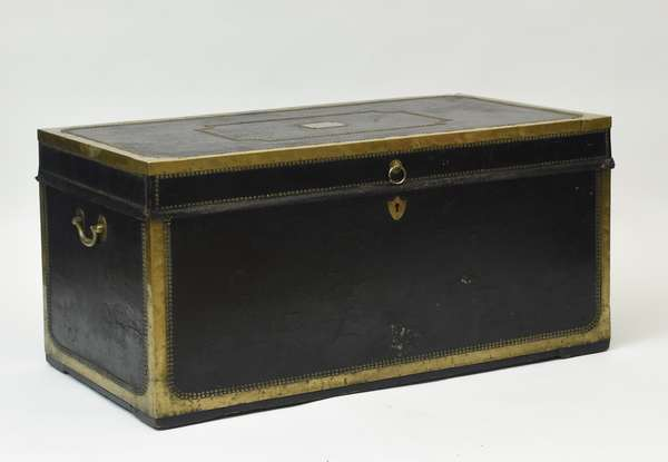 """19th C. large Chinese Export camphor wood trunk, leather and brass bound, belonging to John Taylor Gilman, Governor of New Hampshire from 1794-1805, 48.25""""L. x 24""""W. x 23.75""""H."""