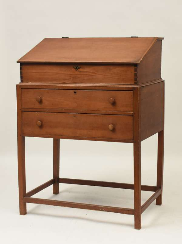 Good early 19th C. two-part school masters desk with two drawers and fitted interior, 54