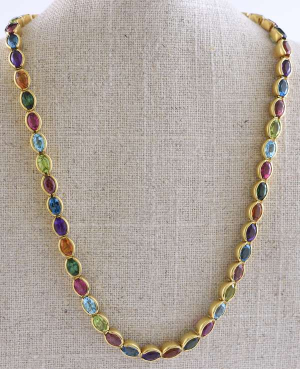 18k yellow gold necklace, set with 54 semi-precious stones,peridot, garnet, tourmaline, topaz, citrine and others signed Sauer Amsterdam, see appraisal, 15.5