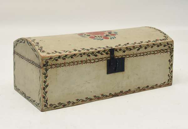 Early 19th C. paint decorated dome top box, original polychrome paint on white ground with original hardware 24