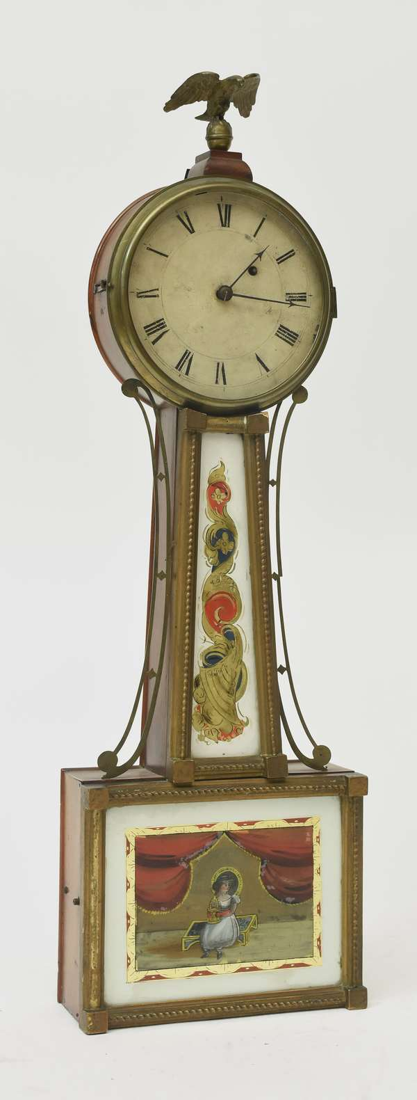 """Fine early 19th C. weight driven banjo clock with original tablets, 32""""H."""
