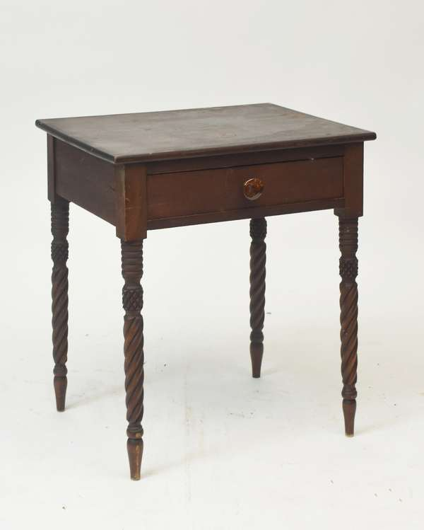 """Federal maple one drawer stand with rope and saw tooth carved legs, old finish, 29""""H. x 25""""W."""