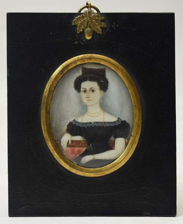 19th C. miniature painting, woman with hair comb, 2.5