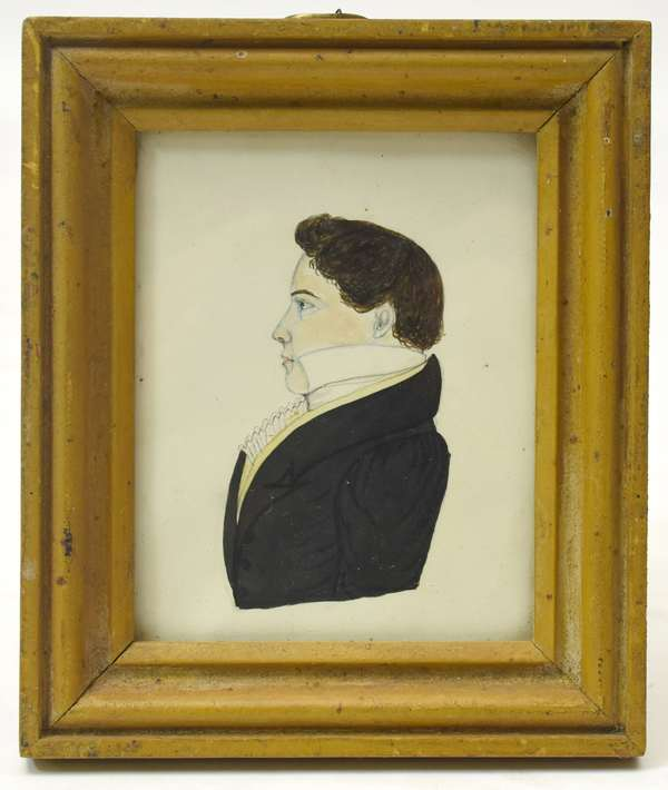 Miniature watercolor profile portrait of a gentleman in an early painted mustard frame