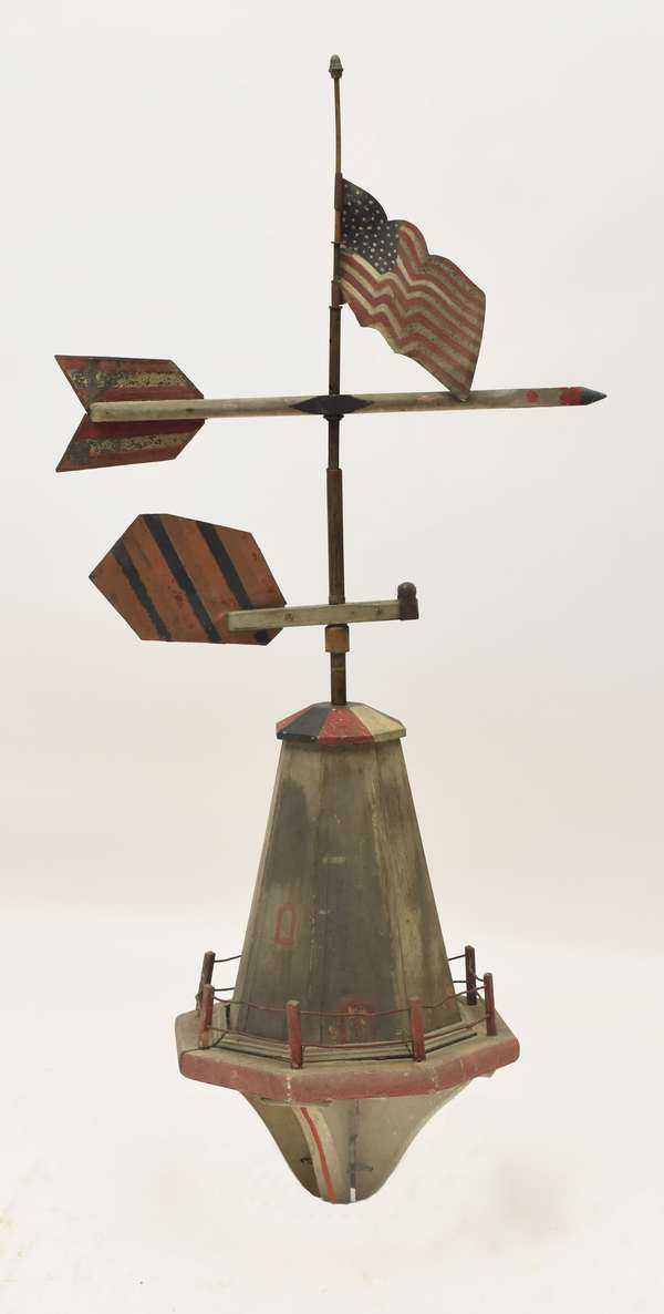 Antique lighthouse weathervane with American flag, 45