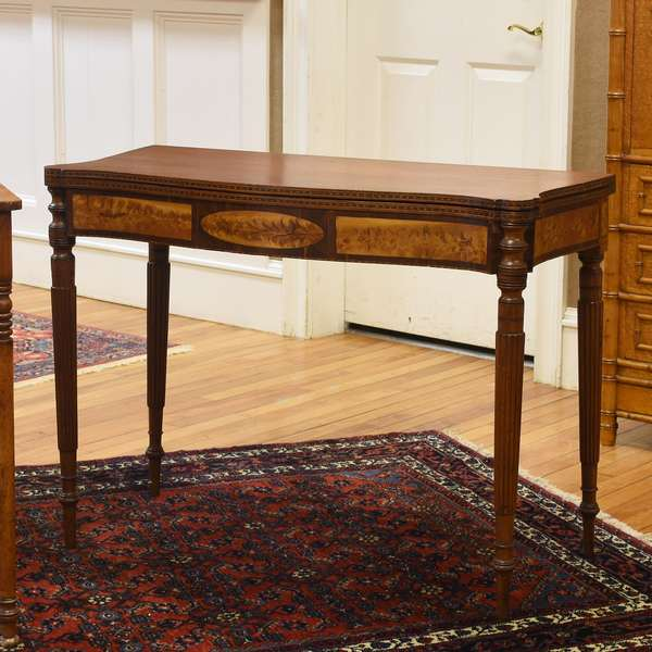 Fine Federal mahogany inlaid Boston card table, with birdseye panels, ca.1810