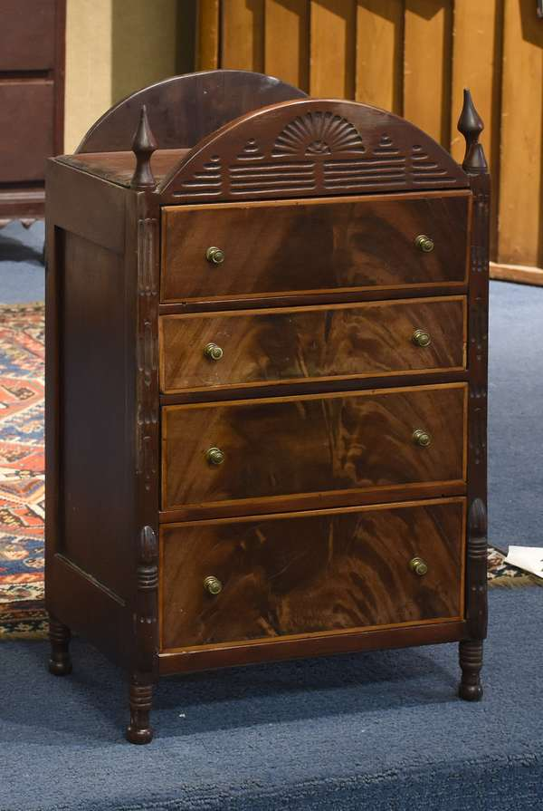 """Early 19th C. miniature chest of drawers on turned legs wit chip carvings 24""""H x 14""""W"""