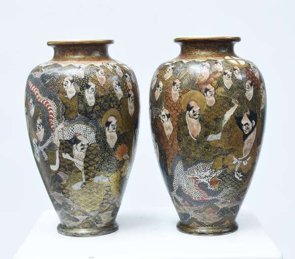 """Good pair of Japanese Meiji period Satsuma vases, artist signed on bottom, 12""""H., well painted"""