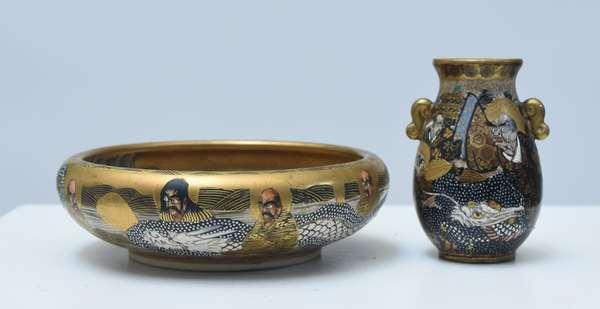 """Two pieces of Japanese Satsuma, 6"""" low bowl, well painted, artist signed; other 3.75""""H. miniature handled vase, well painted, artist signed, 19th/20th C."""