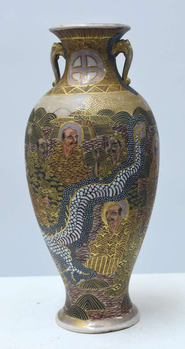 """Good Satsuma handled vase with moriage dragon circling the body, 9""""H., well painted, artist signed, 19th/20th C."""