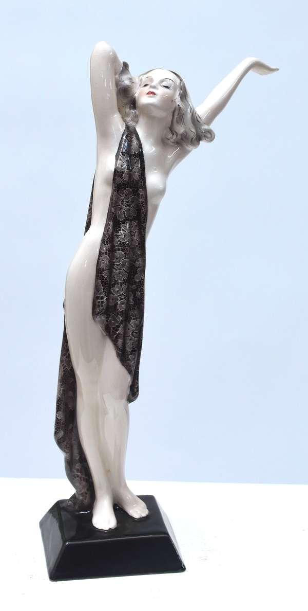 "Goldscheider Art Deco figure, standing nude with gray paisley shawl over her shoulder,  14""H., marked Made in Austria, Goldscheider Wien,  Lorenzl impressed 6932-107-11 F.S in black paint, ca.1930"