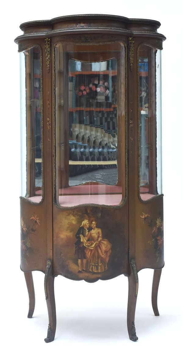 """19th C. gilt Vernis Martin curio cabinet,  bowed front, and sides with painted romantic couple on bottom of door; painted floral panels on sides, brass decorative trim, glass shelves, 56""""H. x 27""""W. x 16.5""""D., ca. 1900."""