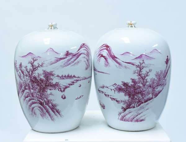 Pair 19th C. Chinese aubergine decorated jars with covers, mountainous landscape painting on each jar, proper pair with Chinese writing on back, pomegranate finials
