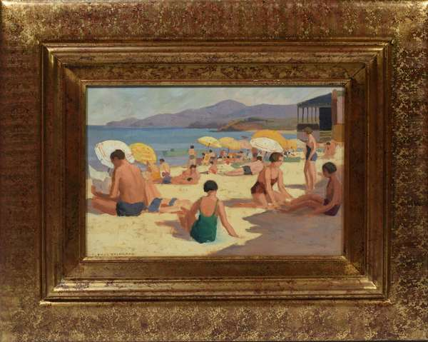 """Paul Delormoz (1895-1980).  Oil on hard board of bathers at the beach. Titled on reverse """"Soleil at baignaola, sur la plage de St. Clair"""" stamped a felier Paul Delormoz 12""""H. x 18""""W., in wide gilt frame, 23""""H. x 29""""W. overall.  Signed lower left Paul Delormoz."""