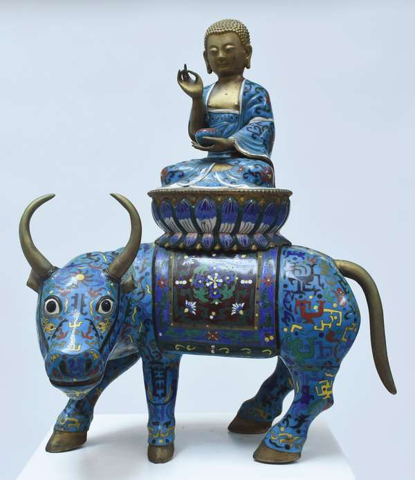 """Large Chinese cloisonné seated Buddha on a bull, 19th/20th C., 21.5""""H. x 16""""W"""