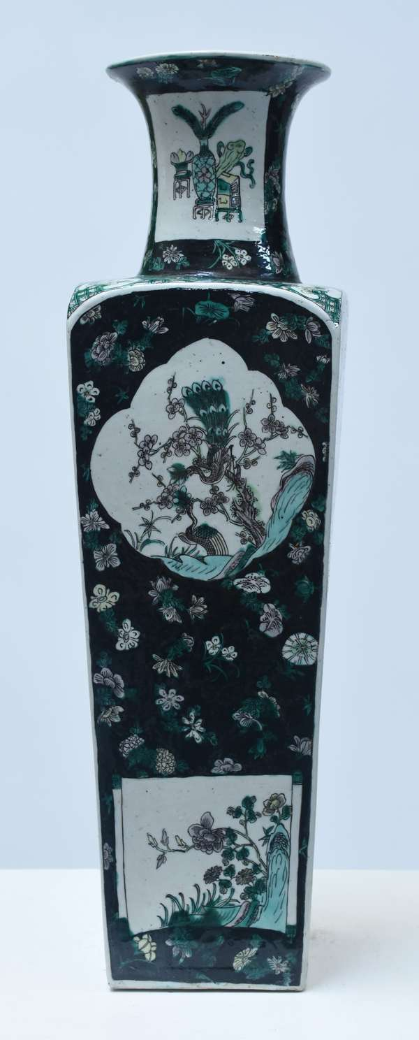 """Chinese enamel decorated square vase with black, dark green, turquoise, and plum coloration of floral, and bird panels, 19.75""""H., signed on bottom, 19th/20th C."""