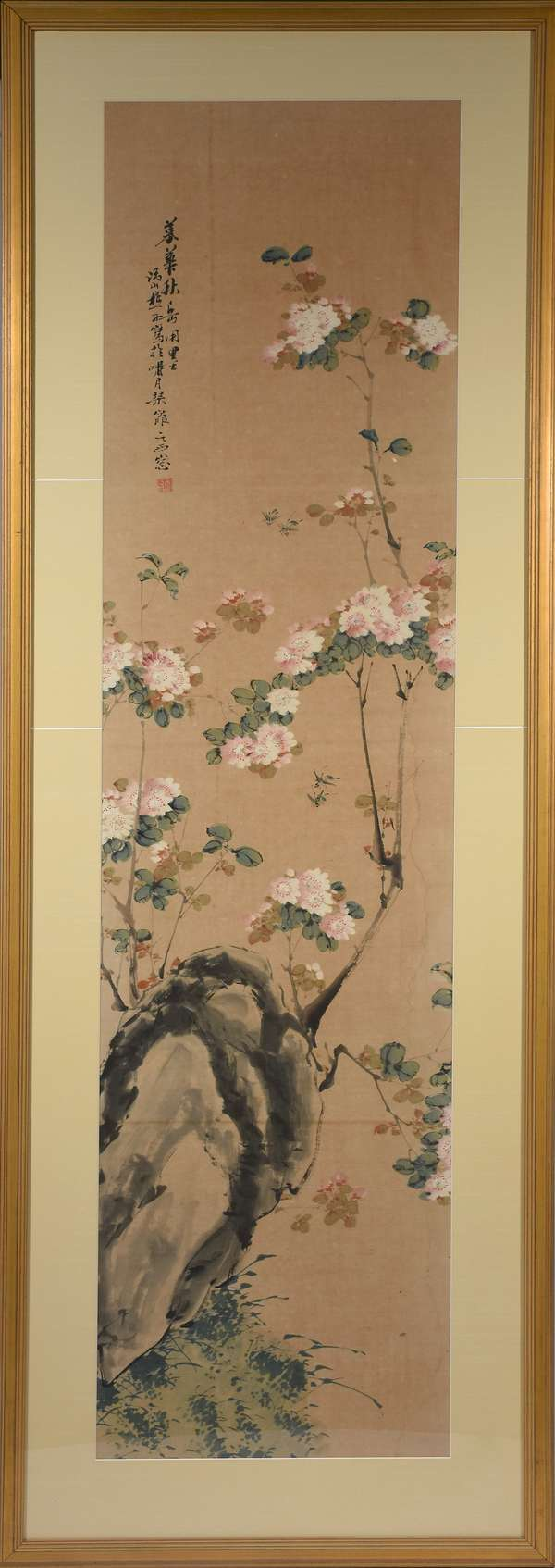 """Large Chinese watercolor and gouache on paper, of cherry blossom branch, and bees, artist signed upper left, sight size 65.5""""H. x 16""""W., matted and framed, 75.5""""H. x 25.5""""W. overall."""