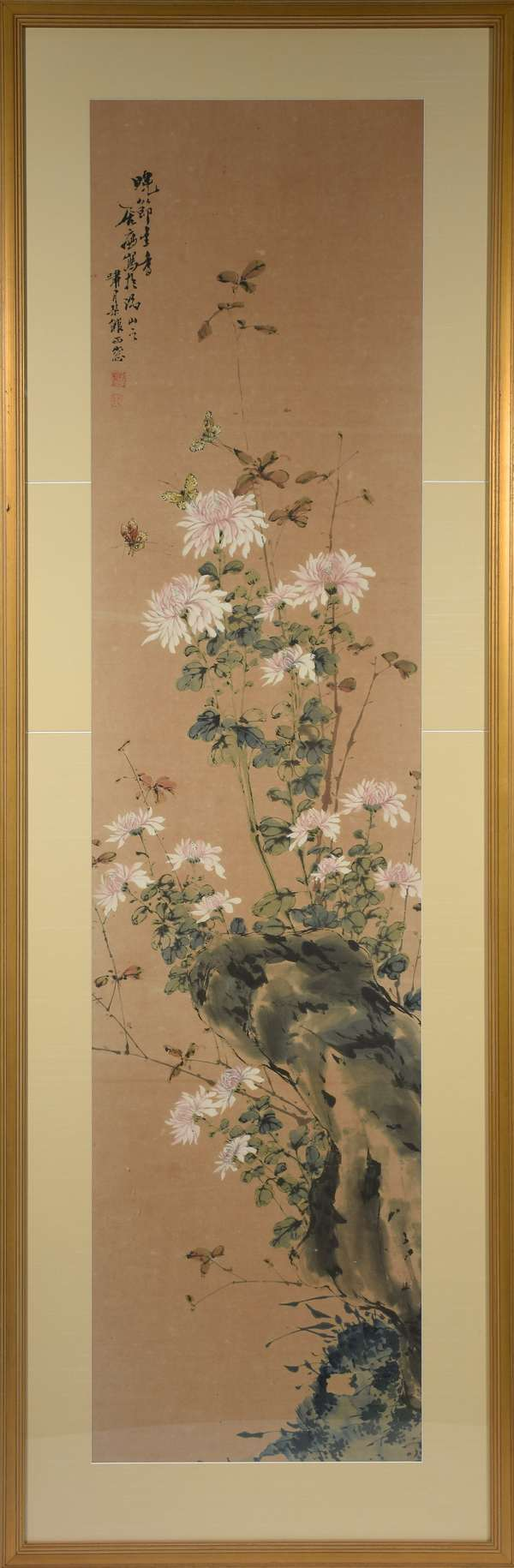 """Large Chinese watercolor and gouache on paper of Fuji mums on a rocky outcrop with butterflies, artist signed upper left. 65.5""""H. x 16""""W., matted and framed, 75.5""""H. x 25.5""""W. overall."""