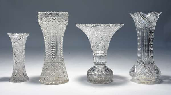 """Four American brilliant period cut glass vases, ranging from 10"""" – 14""""H."""