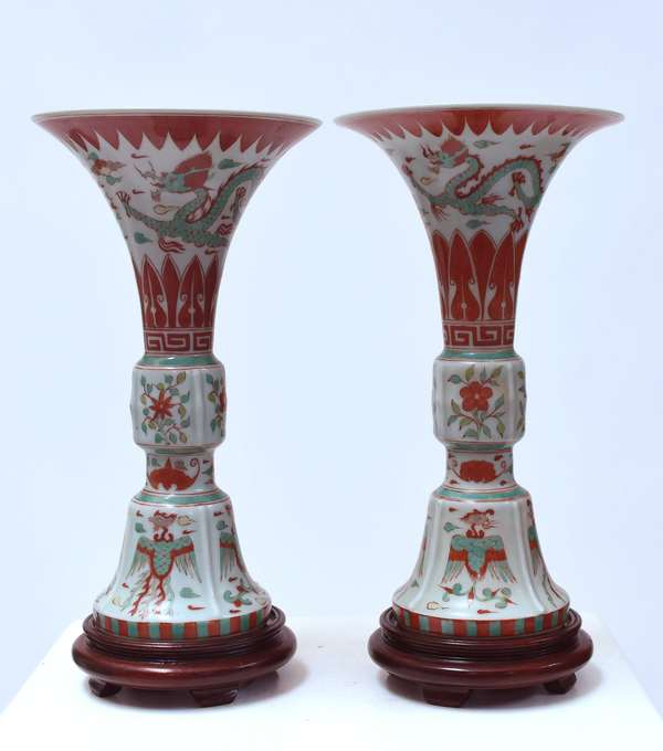 """Pair Chinese Gu form vases, painted in rust, and turquoise, 20th C. Republic period, marked on bottom, 12""""H."""
