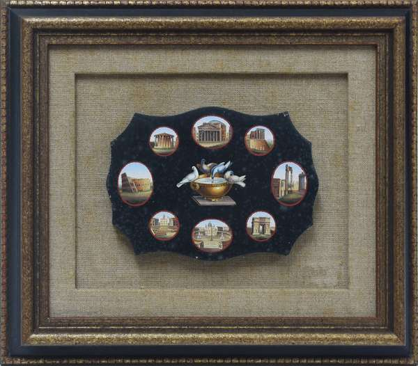 """19th C. Italian micro-mosaic plaque with nine scenes of Rome, Doves of Pliny at center, very detailed with tiny tesserae, 6.25""""W. x 4.5""""H."""
