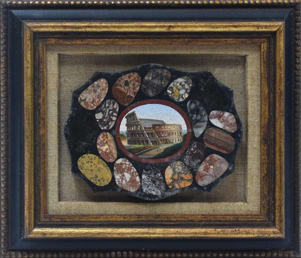 """19th C. Italian micro-mosaic plaque of the Colosseum, with marble specimens around the border, 6 1/8""""W. x 4.5""""H."""