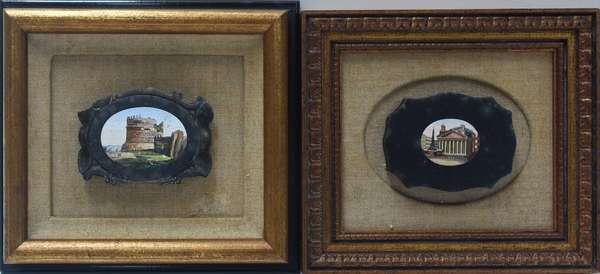 """Two Italian micro-mosaic plaques of the  Colosseum and the Pantheon, approx. 4""""W. x 3""""H. each"""