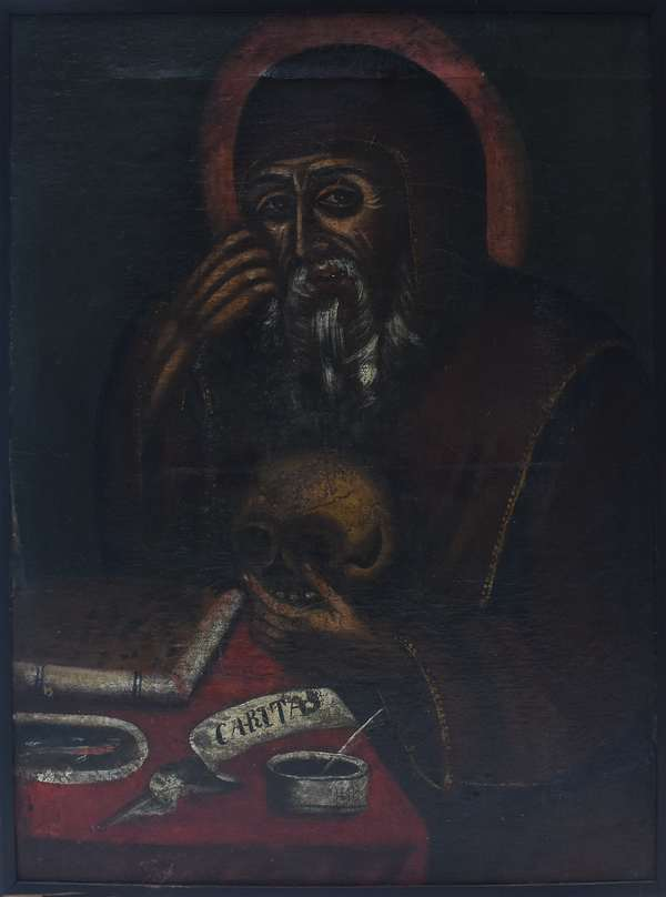 """17th/18th C. Spanish Colonial oil on canvas of Saint Gerome holding a skull, 31.5""""H. x 22.25""""W."""