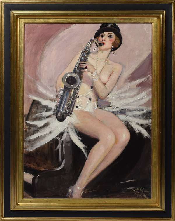 """Charley Garry (Fr. 1891-1973) Art Deco oil on canvas of female saxophone player in cabaret costume, signed lower right """"Ch. Garry 1927"""", 36.5""""H. x 25.75""""W. Exhibition label on reverse and Sotheby's Paris auction label."""